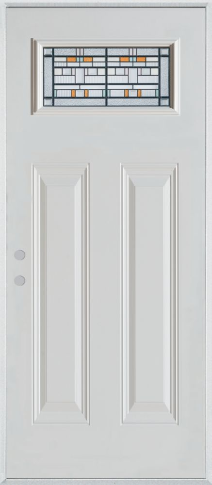 Stanley Doors 37.375 inch x 82.375 inch Chicago Patina Rectangular Lite 2-Panel Prefinished White Right-Hand Inswing Steel Prehung Front Door - ENERGY STAR®