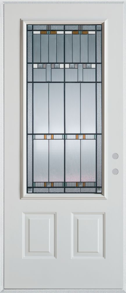Chicago 3/4-Lite 2-Panel Painted Steel Entry Door