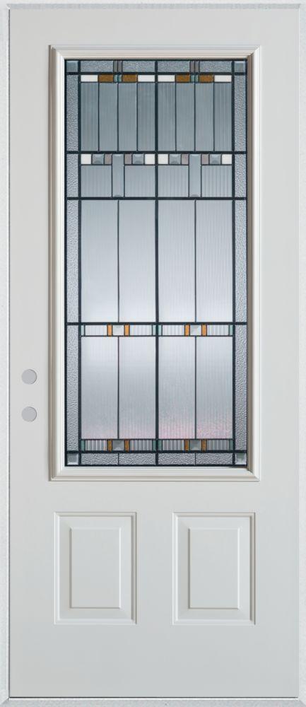 Porte dentrée en acier peint, munie de deux panneaux et dun 3/4 po verre