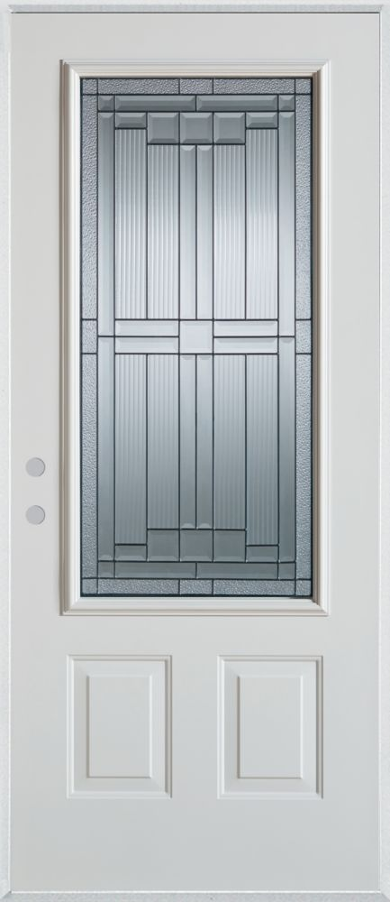 Stanley Doors Seattle 3 4 Lite 2 Panel Painted Steel Entry Door The Home De