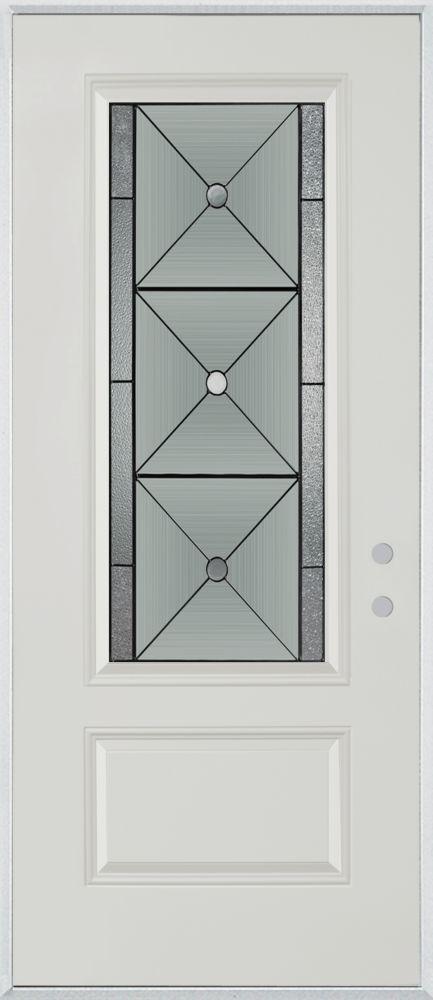 Porte dentrée en acier peint, munie d'une panneau et dun 3/4  verre