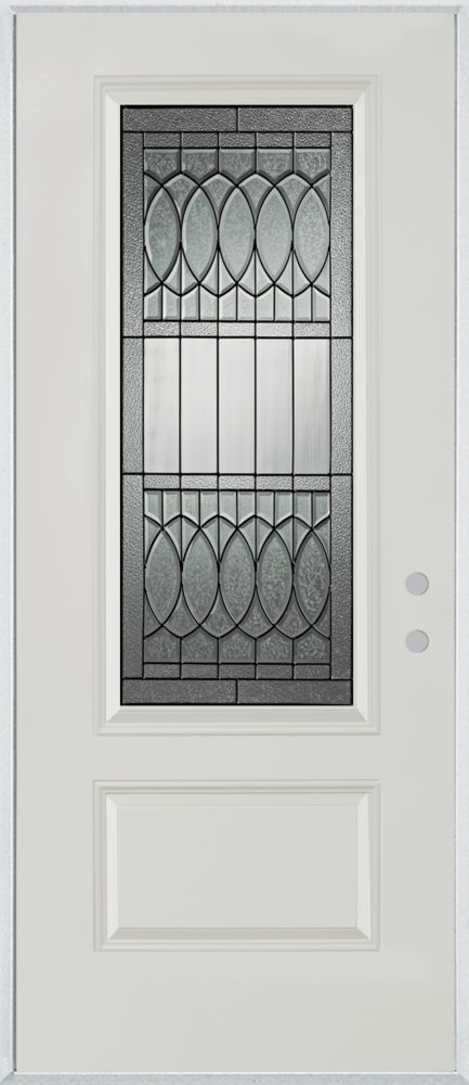 Stanley Doors 37.375 inch x 82.375 inch Nightingale Patina 3/4 Lite 1-Panel Prefinished White Left-Hand Inswing Steel Prehung Front Door - ENERGY STAR®