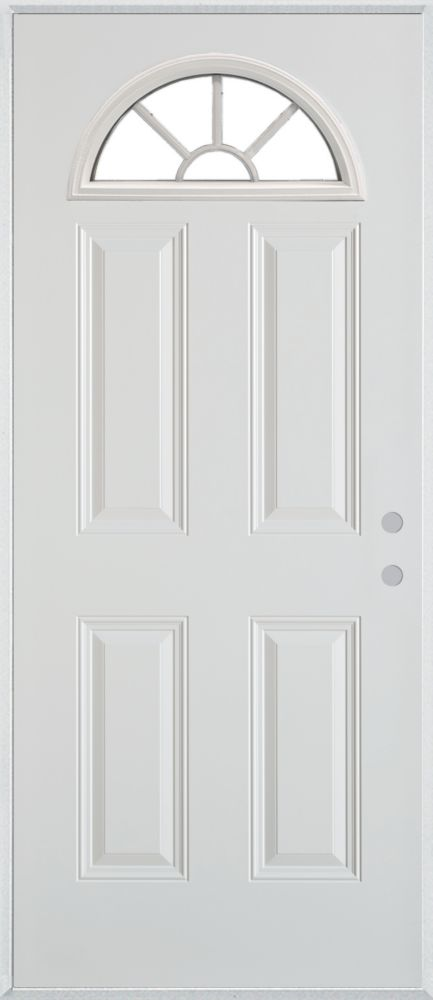 Stanley Doors 37.375 inch x 82.375 inch Clear Fan Lite 4-Panel Prefinished White Left-Hand Inswing Steel Prehung Front Door - ENERGY STAR®