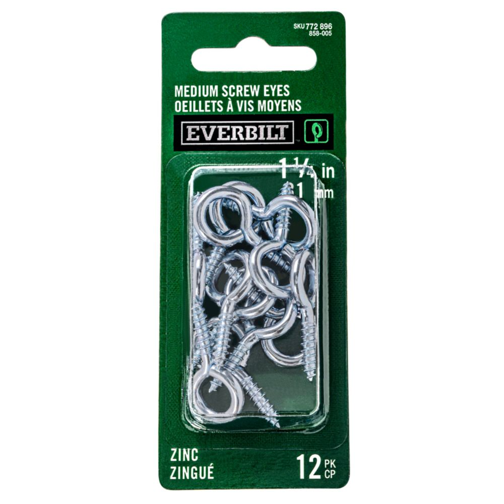 Everbilt 1-1/4 Inch  Zinc Md Screw Eye 12pk