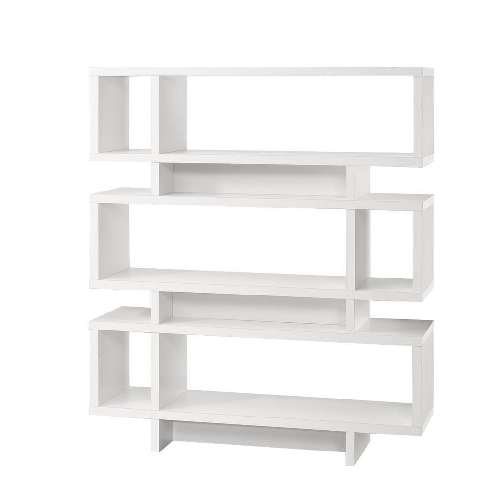 Monarch Specialties 47.25-inch x 54.5-inch x 11.66-inch 3-Shelf Manufactured Wood Bookcase in White