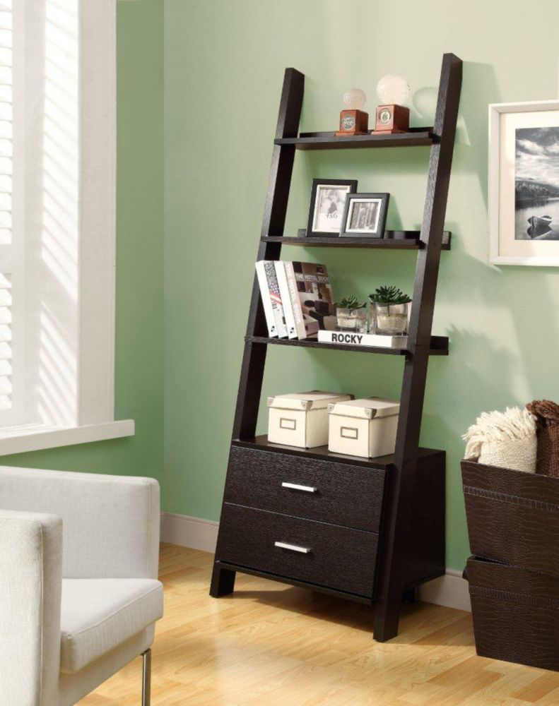 69-inch Ladder Bookcase with Two Storage Drawers in Cappuccino