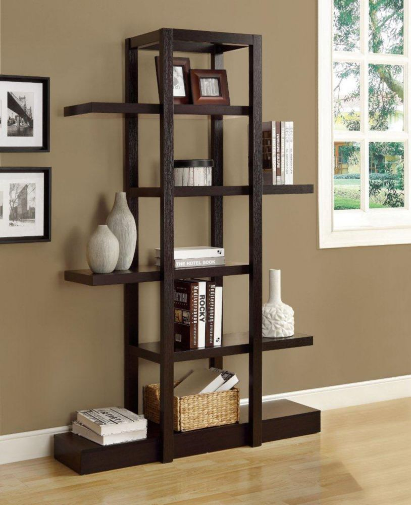 monarch specialties bookcase 71 h cappuccino open