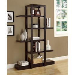 Monarch Specialties 47.25-inch x 71-inch x 14.25-inch Manufactured Wood Cubed Bookcase in Brown