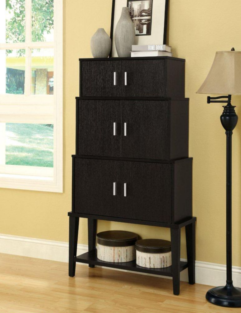 Monarch Specialties 55-inch Stacking-Style Storage Cabinet in Cappuccino