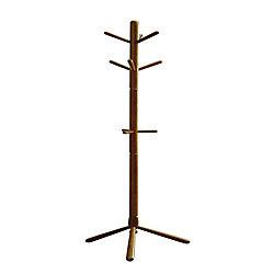 Monarch Specialties 69-inch H Contemporary Wood Coat Rack in Oak