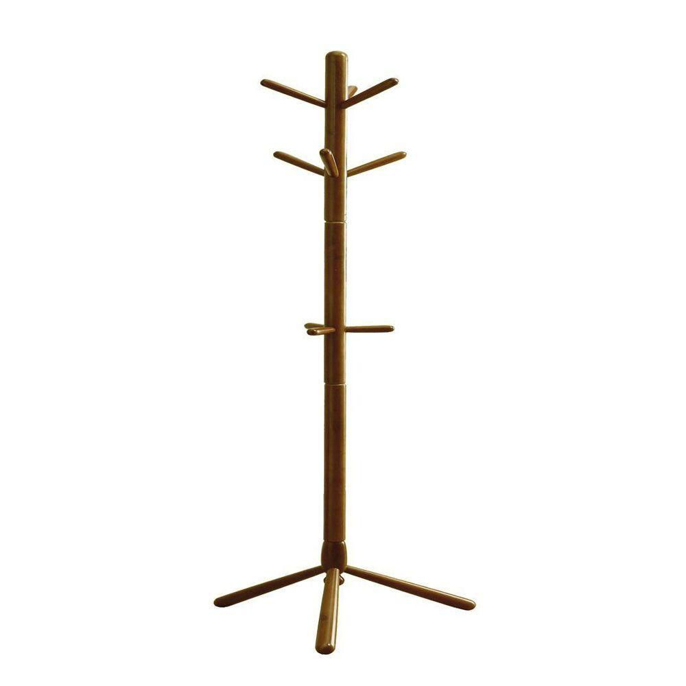 Monarch Specialties 69-inch H Contemporary Wood Coat Rack in Oak