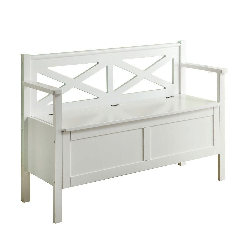 Monarch specialties bench 50 l white solid wood with storage the home depot canada Home depot benches