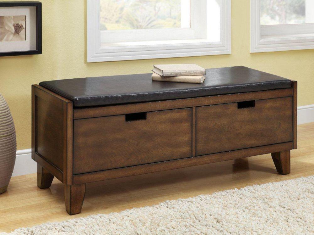"Bench - 48""L / Dark Walnut Solid Wood With 2 Drawers"