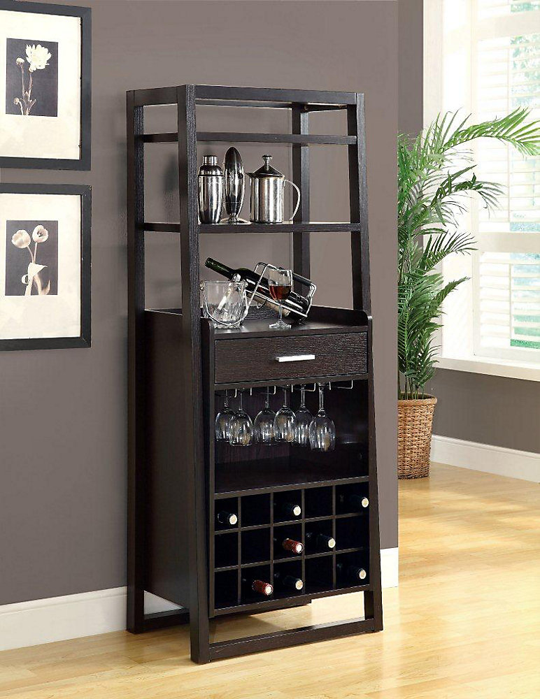 Monarch Specialties 60 Inch H Ladder Style Home Bar With Wine Rack