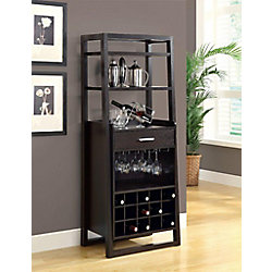Monarch Specialties 60-inch H Ladder Style Home Bar with Wine Rack in Cappuccino