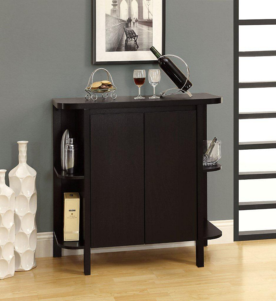 Monarch Specialties Home Bar 36 H Cappuccino With Bottle Glass