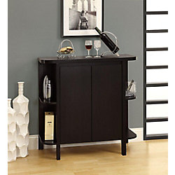 """Monarch Specialties Home Bar - 36""""H / Cappuccino With Bottle / Glass Storage"""