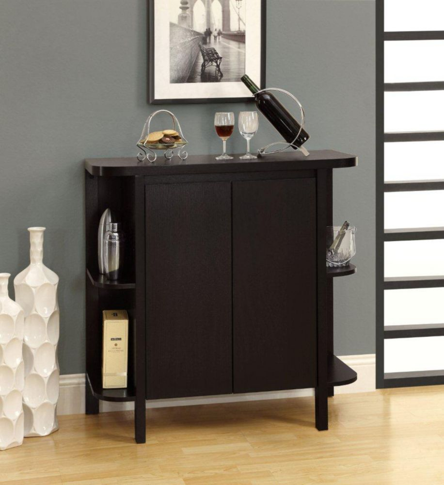 "Monarch Specialties Home Bar - 36""H / Cappuccino With Bottle / Glass Storage"
