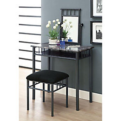 Monarch Specialties Bedroom Vanity Set in Grey Marble and Charcoal (2-Piece)