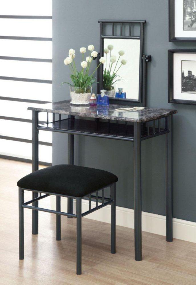 Monarch Specialties Bedroom Vanity Set in Grey Marble and Charcoal (2-Piece)