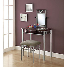 Bedroom Vanity Set in Cappuccino and Silver (2-Piece)