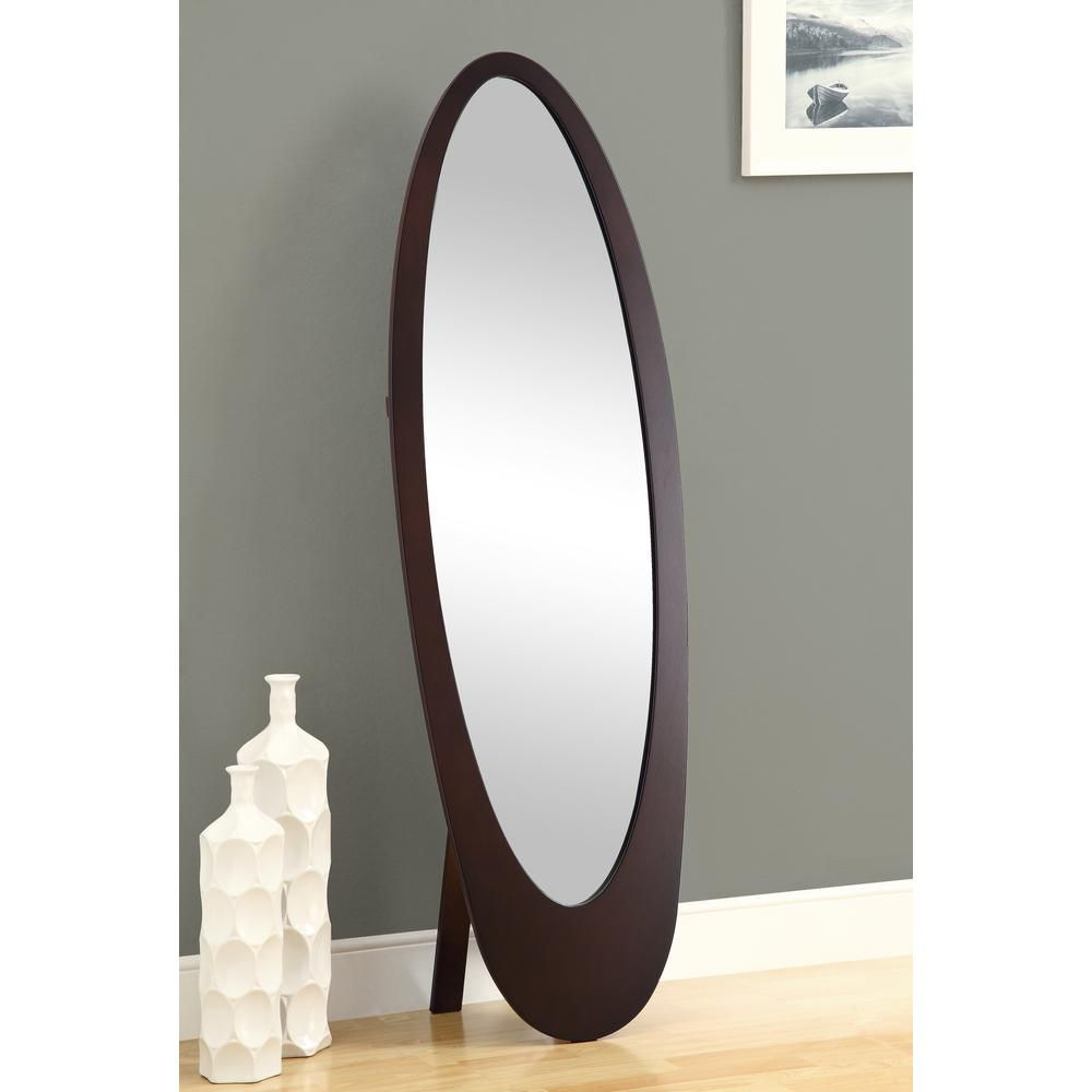 "Mirror - 59""H / Cappuccino Contemporary Oval Frame"