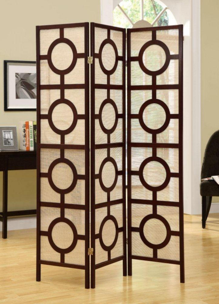 Monarch Specialties 3-Panel Folding Screen Room Divider with Circle Design Frame in Cappuccino