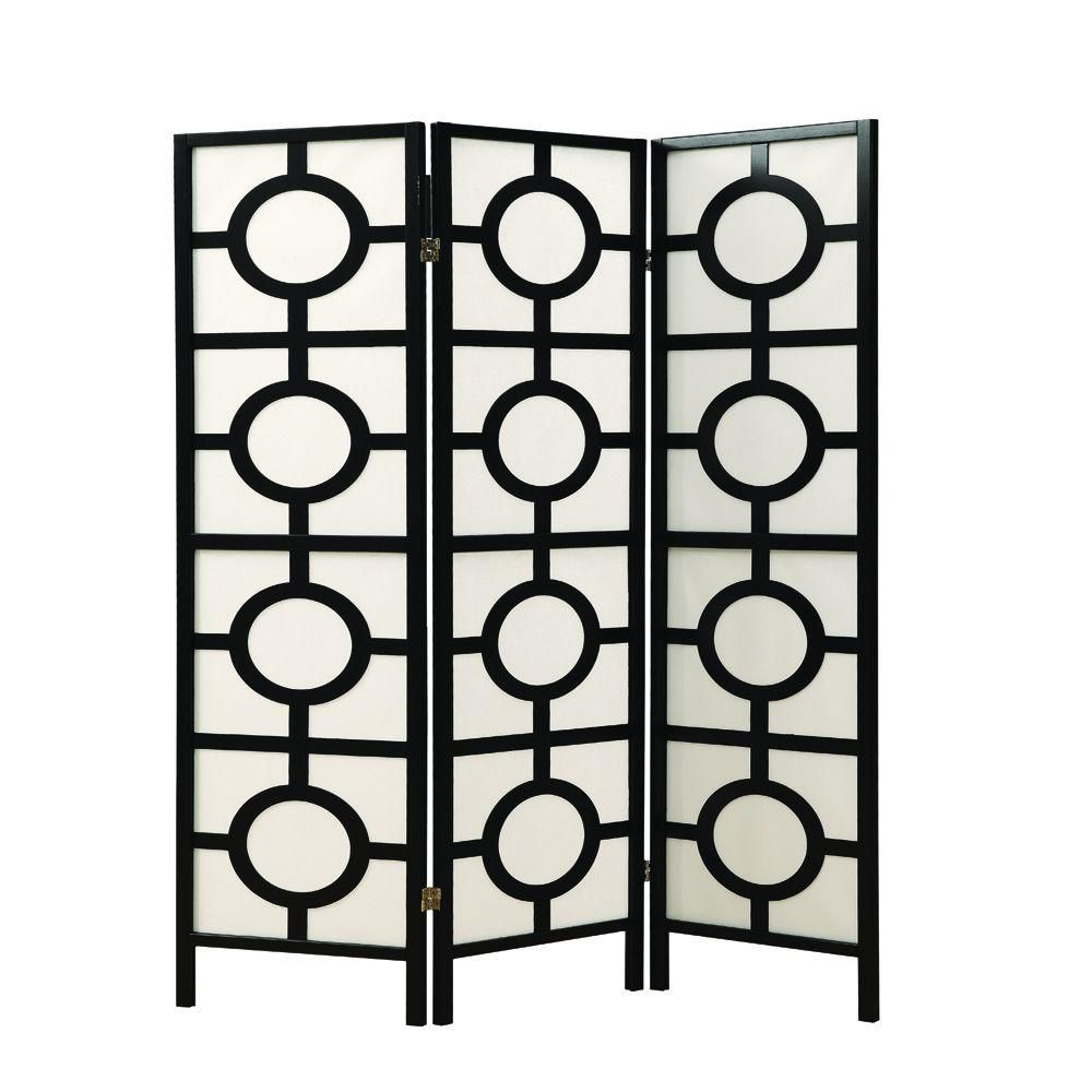 Monarch Specialties 3-Panel Folding Screen Room Divider with Circle Design Frame in Black