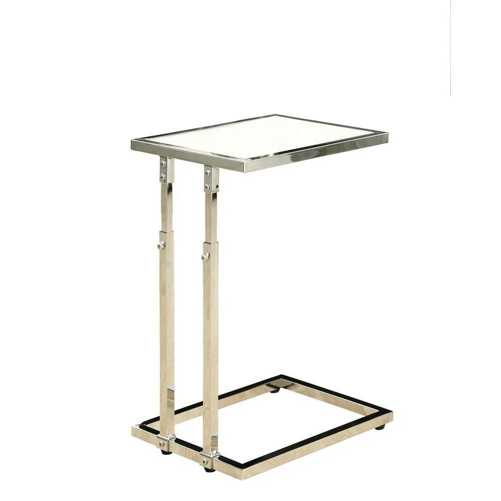 Table D'Appoint - Metal Chrome Ajustable  / Trempe
