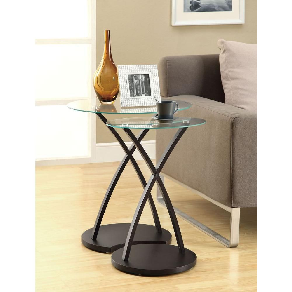Monarch Specialties 2-Piece Nesting Table Set in Cappuccino Bentwood