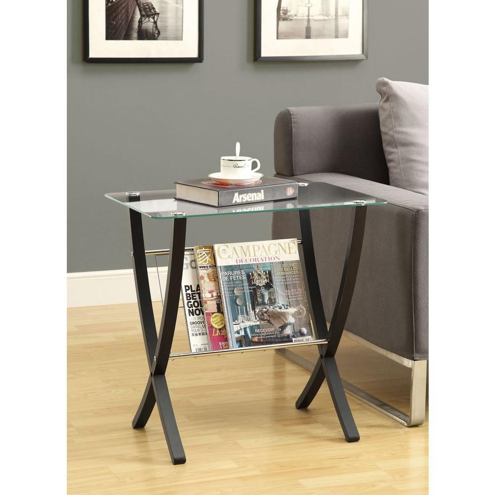 Table D'Appoint - Cappuccino Bentwood Avec Verre Trempe