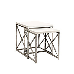 Monarch Specialties 2-Piece Nesting Table Set in Chrome with Glossy White Top