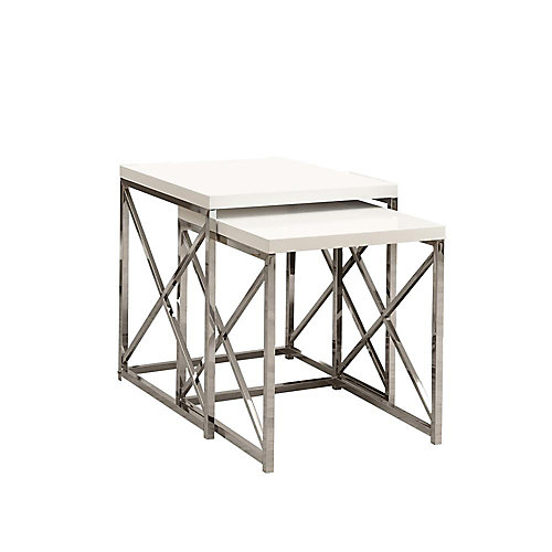 2-Piece Nesting Table Set in Chrome with Glossy White Top