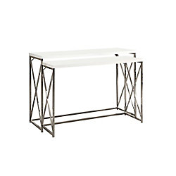 Monarch Specialties 2-Piece Table Set with Glossy White Top in Chrome