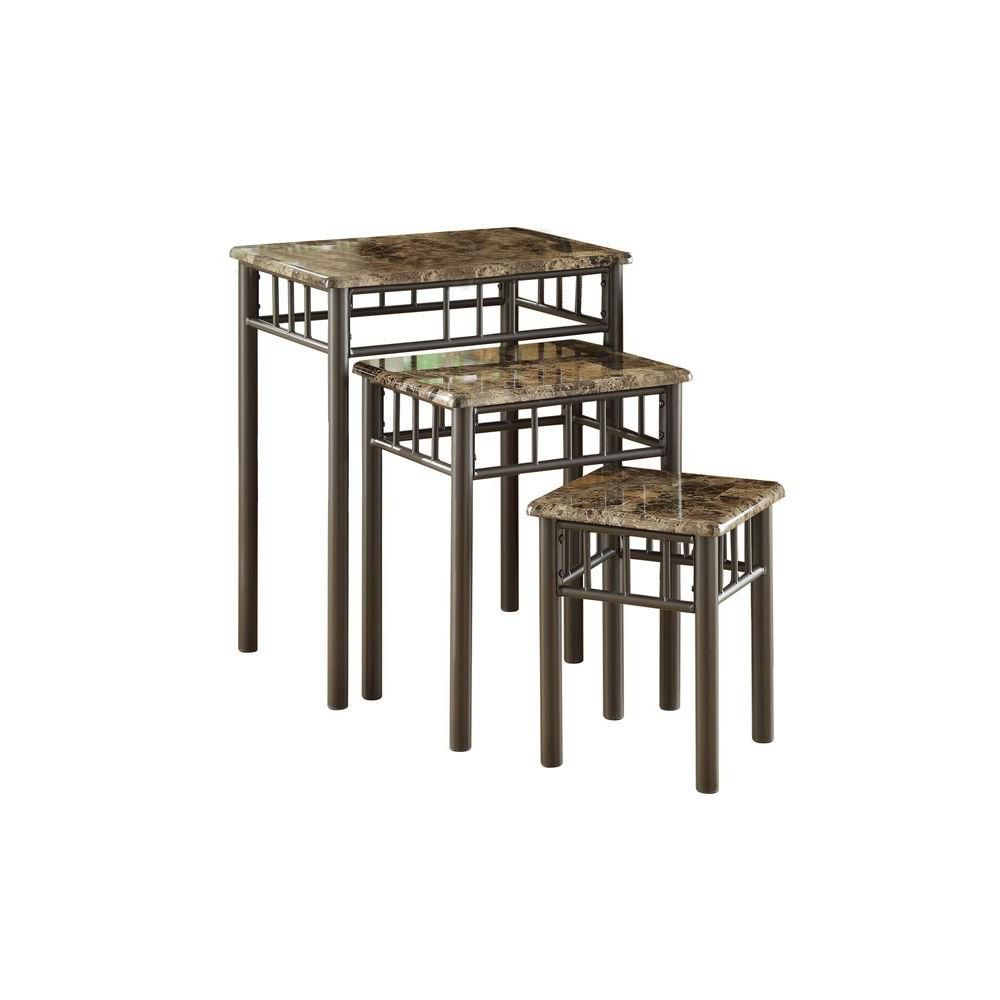 Tables Gigognes - Ens. 3Pcs / Metal / Marbre Cappuccino