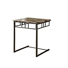 Marble-Look Accent Table in Bronze & Cappuccino
