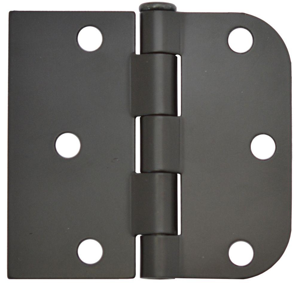 3 Inch X3-3/16 Inch  Iron Black Rev Door Hinge 2pk