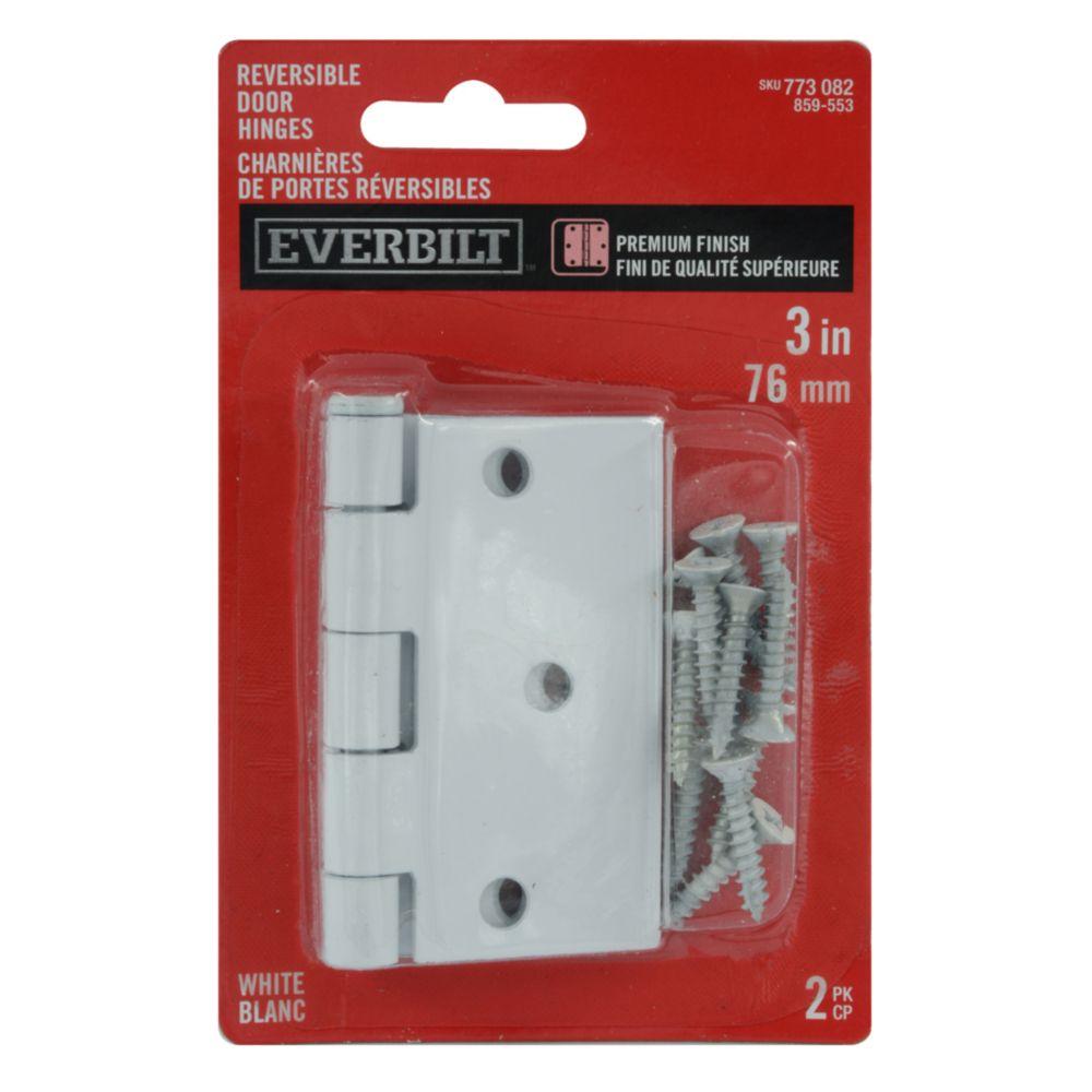 3 Inch X3-3/16 Inch  White Rev Door Hinge 2pk