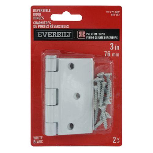 Everbilt 3-inch x 3 3/16-inch White Door Hinge (2-Pack)