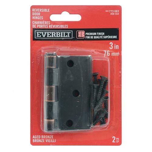 Everbilt 3-inch x 3 3/16-inch Aged Bronze Door Hinge (2-Pack)