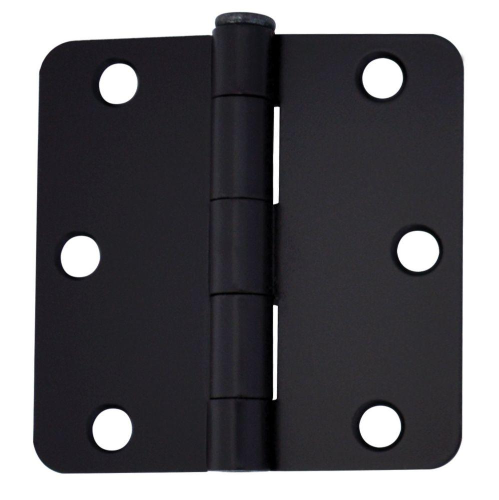 3-inch Iron Black Door Hinge for 1 3/4-inch Thick Door (2 Pack)