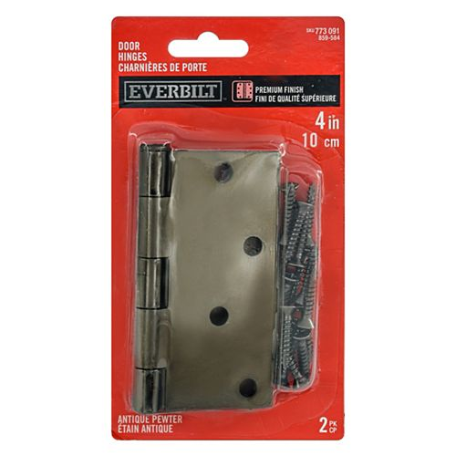 Everbilt 4-inch Antique Pewter Door Hinge (2-Pack)
