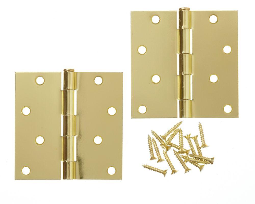 4-inch Polished Brass Door Hinge (2 Pack)