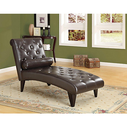 Chaise Lounger - Dark Brown Leather-Look Fabric