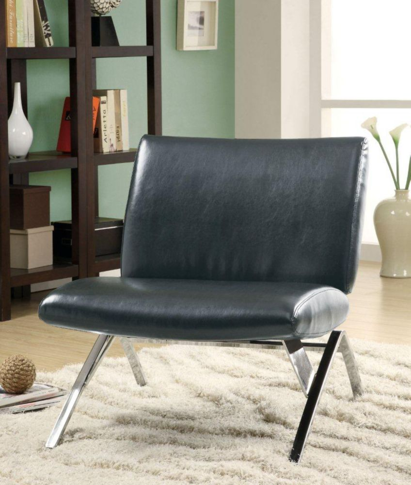 Accent Chair - Black Leather-Look / Chrome Metal