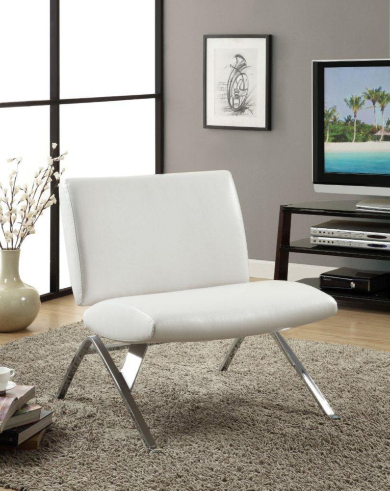 Accent Chair - White Leather-Look Fabric / Chrome Base