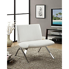 accent chair white leatherlook fabric chrome base