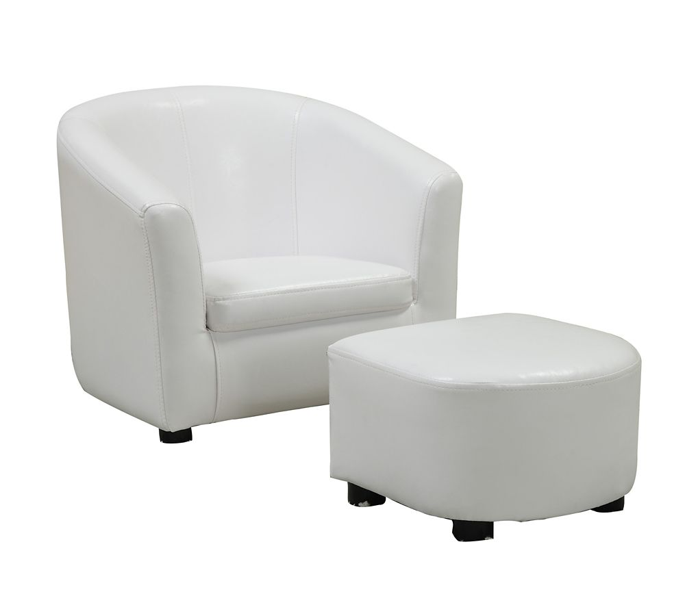 Juvenile Chair   2 Pcs Set / White Leather Look Fabric