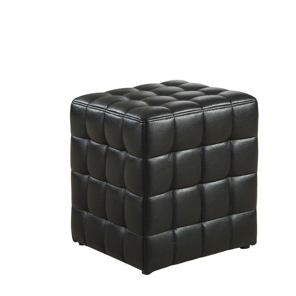 Monarch specialties pouf simili cuir noir home depot canada - Pouf noir simili cuir ...