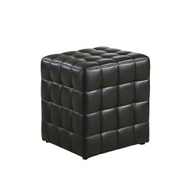Monarch Specialties Tufted Leather-Look Ottoman in Black